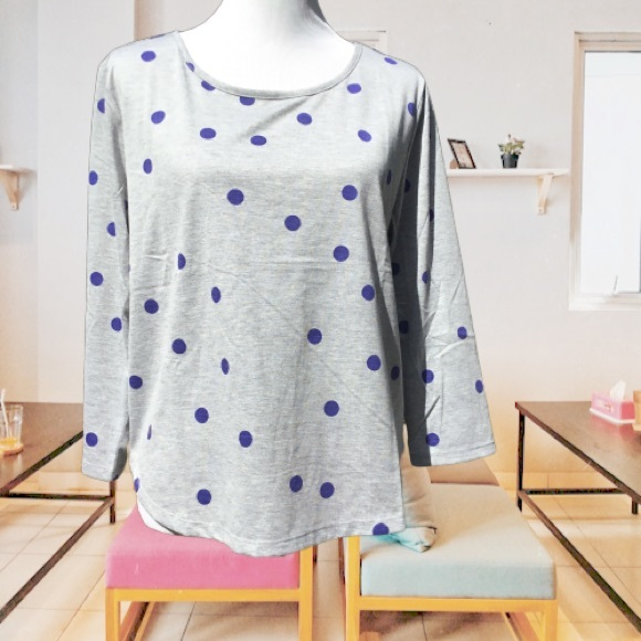 Melrose Chic Tops - Polka Dot Pullover Pull Over Lightweight Tee Top S